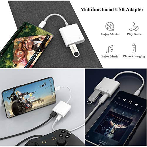 USB C to USB Adapter, Type C USB OTG Cable, 2 in 1 USB C Cable to USB Female and Charging Port Splitter Adapter Compatible with iPad Pro, Dell XPS, Galaxy S20/S20+/Note10, Google Pixel 4/4XL, LG V40