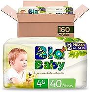 Pañales BioBaby Talla 4 Grande Unisex, 160 piezas