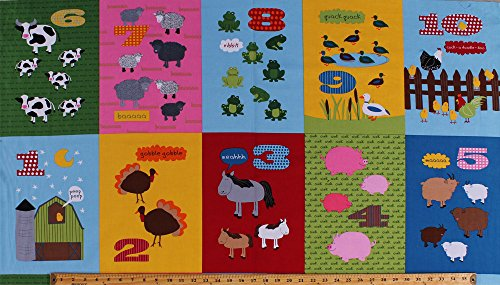 """23"""" X 44"""" Panel Barnyard Counting Numbers 123's Farm Animals Sounds Noises Cows Sheep Frogs Pigs Horses Goats Turkeys Ducks Chickens Chicks Colorful Squares Adventure Children's Kids Learning Fun Cotton Fabric Panel (awn-14036-267)"""