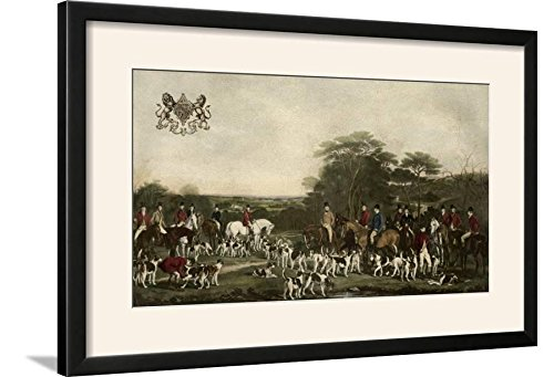 Sutton and the Quorn Hounds Art Print Framed, 29x20, Black Frame-White Mat (Quorn Hounds)