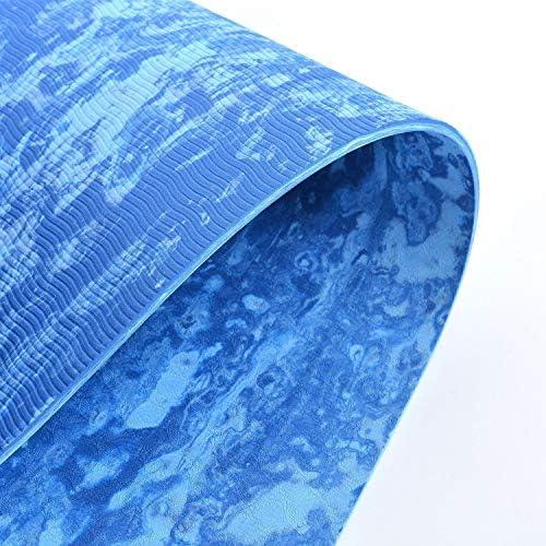 Yoga mat コルクのヨガマット、太いヨガマット太いピラティスヨガピラティスエアロビクス強い構造快適なホームフィットネスマット、ブルー workout