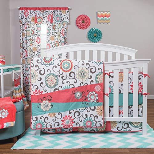 Waverly® Pom Pom Play 4 Piece Crib Bedding Set Chevron/floral Design Quilt,...