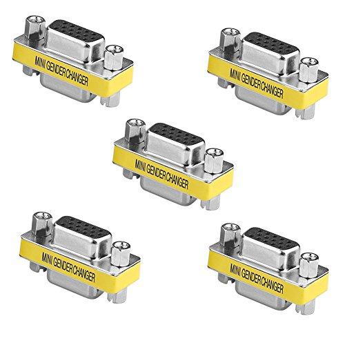 - SIENOC 5 Packs 15 Pin VGA SVGA Female to Female Mini Gender Changer Coupler Adapter