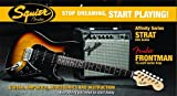 Squier by Fender Affinity Stratocaster Beginner Electric Guitar Pack with Fender FM 15G Amplifier, Clip-On Tuner, Cable, Strap, Picks, and gig bag  - Brown Sunburst