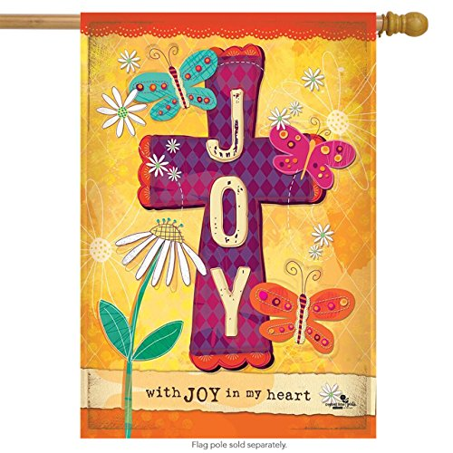Joy Cross Spring House Flag Inspirational Floral Butterflies 28