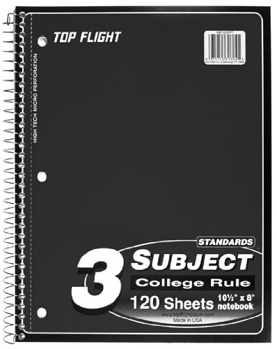 UPC 075755318045, Top Flight Standards 3-Subject Wirebound Notebook, 120 Sheets, 3-Hole Punched, College Rule, 10.5 x 8 Inches, 1 Notebook, Color May Vary (31804)