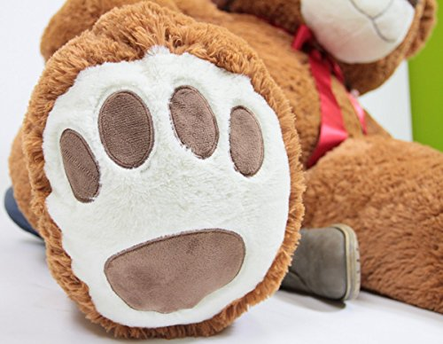 51Qj9nDVmzL - 5 Foot Very Big Smiling Teddy Bear Five Feet Tall Cookie Dough Brown Color with Bigfoot Paws Giant Stuffed Animal Bear