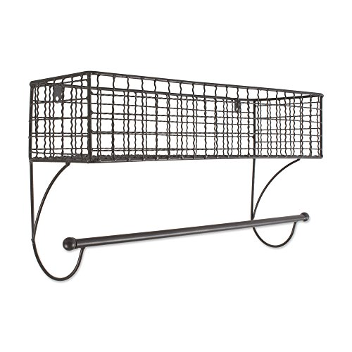 Home Traditions Z02223 Rustic Metal Wall Mount Shelf with Towel Bar, Large by Home Traditions