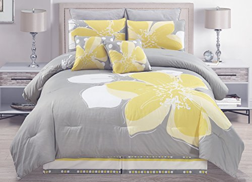 12 - Piece Yellow Grey White floral Bed-in-a-bag QUEEN Size Bedding + Sheets + Accent Pillows Comforter set - Euro Fitted Sheet