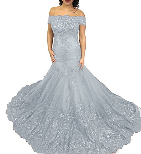 Shown Mermaid The Evening Than Gown BD464 Party Off Prom Picture Lace Dresses darker Ball Applique BessDress Silver Shoulder FwdTqYT