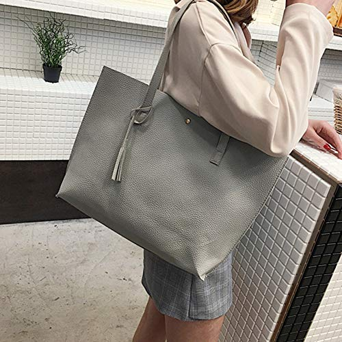 Color Single Capacity Tassel Women High Concise Grey Style Light Solid DSstyles Handbags wqxTA8Iw