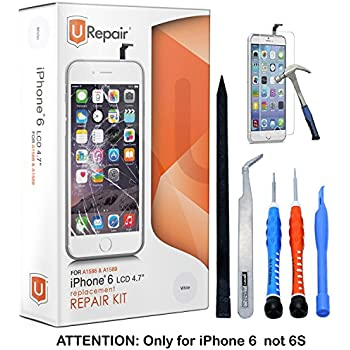 iPhone 6 Screen Replacement - White- LCD Premium Complete Repair Kit with Tools - Easy Manuals Videos and Instructions - ONLY FOR iPHONE 6 NOT 6S by uRepair