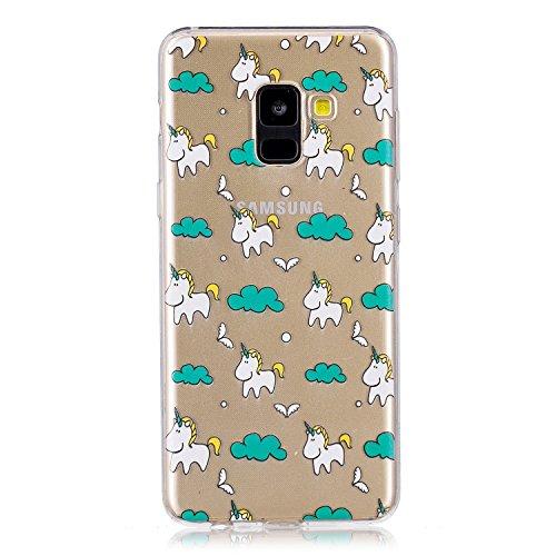 Funda para Samsung Galaxy A8 2018 (SM-A530) , IJIA Transparente Nubes Unicornio TPU Silicona Suave Cover Tapa Caso Parachoques Carcasa Cubierta para Samsung Galaxy A8 2018 (5.6)