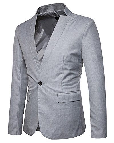 Vestito Shifan Blazers Cappotto Button Giacca One Uomo Casual Affari Grigio Chiaro Di xUYrXwAYcq