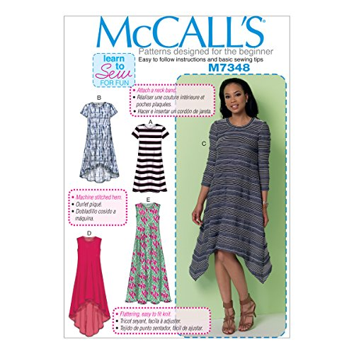 McCall's Patterns M7348 Misses' Straight, Handkerchief or High-Low Hem Dresses, ZZ -