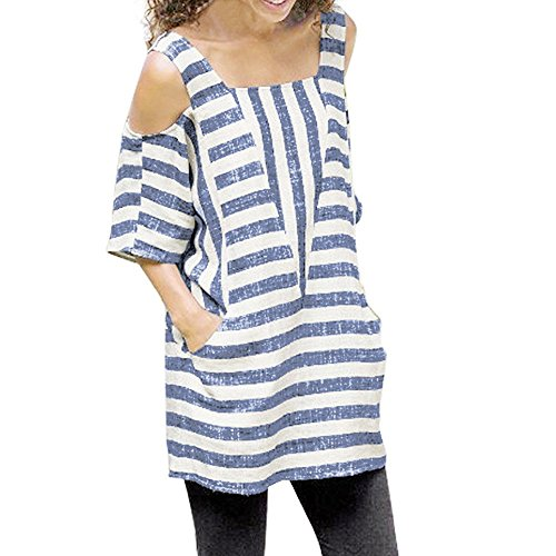 DEATU Women Casual Cold Shoulder Striped Short Sleeve Tops Loose Shirts Blouse(Blue,Size L)