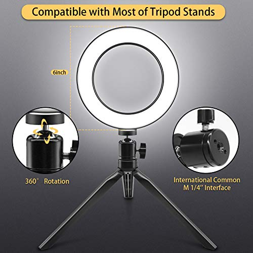 YouTube Video or Makeup Mini LED Camera Light with 3 Light Modes and 11 Brightness Level Ring Light Jurgen K 6 Selfie Ring Light with Tripod Stand and Cell Phone Holder for Live Stream