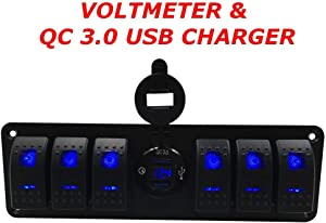 Switchtec 6 Gang Rocker Switch Panel, QC 3.0 USB Charger Voltmeter, Blue Backlit LED, Pre Wired Waterproof Components Boats, Mobile Home, RV, Off Road Vehicles, RV,