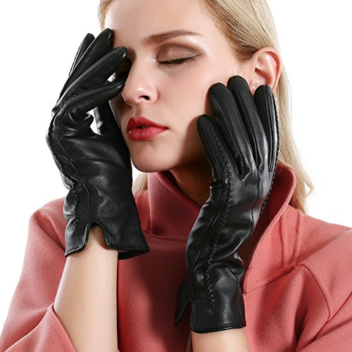 Leather Ladies Hats (Winter Touchscreen Texting Leather Gloves Women Nappa Leather Cashmere Lining Gloves (7.5(US Standard Size), Black(Touchscreen Function/Cashmere Lining)))