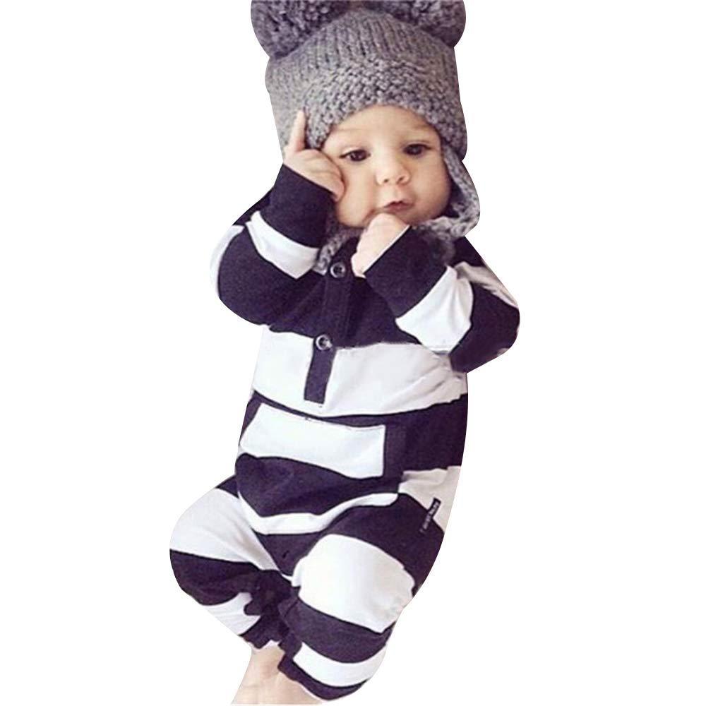 Decha Baby Jumpsuit Newborn Boy Girl Romper Long Sleeve Creepers Clothes Stripes