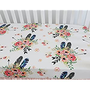 Baby Girl Floral Fitted Crib Sheet Toddler Bed Mattresses fits Standard Crib Mattress 28×52″ (Feather Floral)