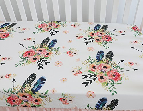 (Baby Girl Floral Fitted Crib Sheet Toddler Bed Mattresses fits Standard Crib Mattress 28x52 (Feather)