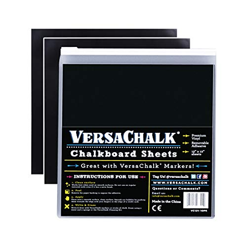VersaChalk Vinyl Self Adhesive Chalkboard Sheets 12 x 12inch Pack of 10  Vinyl Chalkboard for Cricut Xyron Pazzles Silhouette Robo Craft Decals Printers Stickers Banners Signs