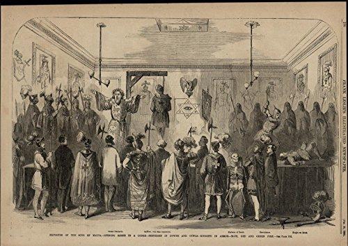 Sons of Malta Ritual Skeleton Gallows Hanging Man Nice 1860 pictorial - Of Malta Men