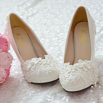 b414b28edf46 JINGXINSTORE Pearl White Lace Flower Wedding Bridal Shoe High Heel Flat  Platform