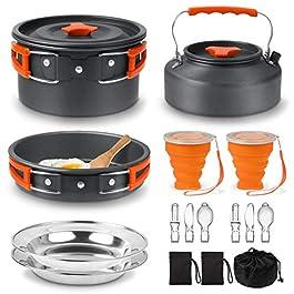 Camping Cooking Set, Camping cookware Stove Set, 18pcs Camping Pot pan Set, Nesting Camp Cook Set, Camping&Hiking Mess…