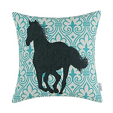 Euphoria CaliTime Cushion Cover Throw Pillow Shell, 18 X 18 Inches, Vintage Decor Figure With Horse, Black & Turquoise