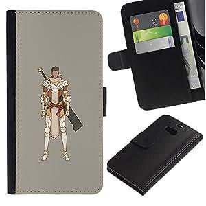 All Phone Most Case / Oferta Especial Cáscara Funda de cuero Monedero Cubierta de proteccion Caso / Wallet Case for HTC One M8 // Samurai Computer Game Swordsman