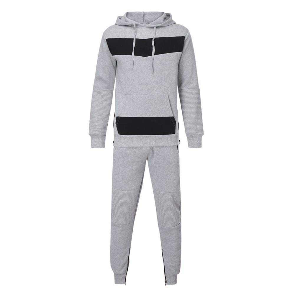 Rawdah Men coat Winter Casual Plain Sweat Zipper Attachment Slender Long-Sleeved Shirt Tops Pants Sports Suit Cold Weather Control Traveling Outdoors Climbing