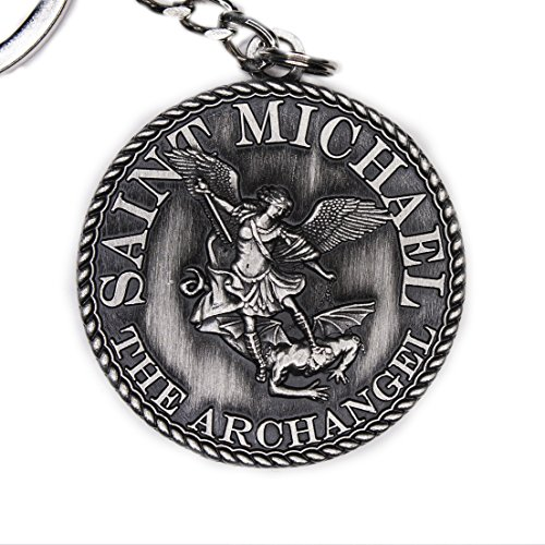 Angel Silver Keychain (38mm dia St Michael Prayer Coin Keychain - Silver Antique)