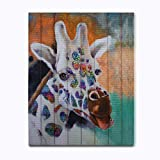 Giraffe Wall Art Animal Ribbon Painting 2118 Solid Wood Frame for Living Room Home Decor Painting
