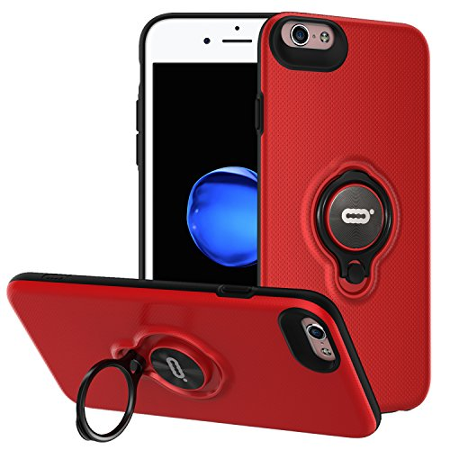 iPhone 6s Plus/6 Plus Case with Ring Holder Kickstand, 360 Degrees Rotating Ring Holder Grip Case Ultra Slim Thin Hard Cover for iPhone 6s Plus/6 Plus (5.5inch) (Red)