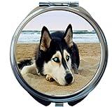 Rikki Knight Siberian Husky on Beach Design Round Compact Mirror