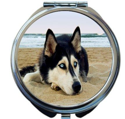 Rikki Knight Siberian Husky on Beach Design Round Compact Mirror by Rikki Knight
