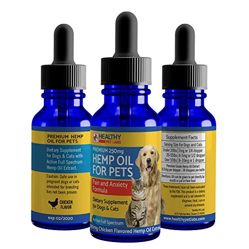 Hemp Oil Extract For Pets - Pain and Anxiety Formula - For Your Dog or Cat - Full Spectrum Hemp Oil Supplement For Your Special Pet (250mg Chicken Flavor)