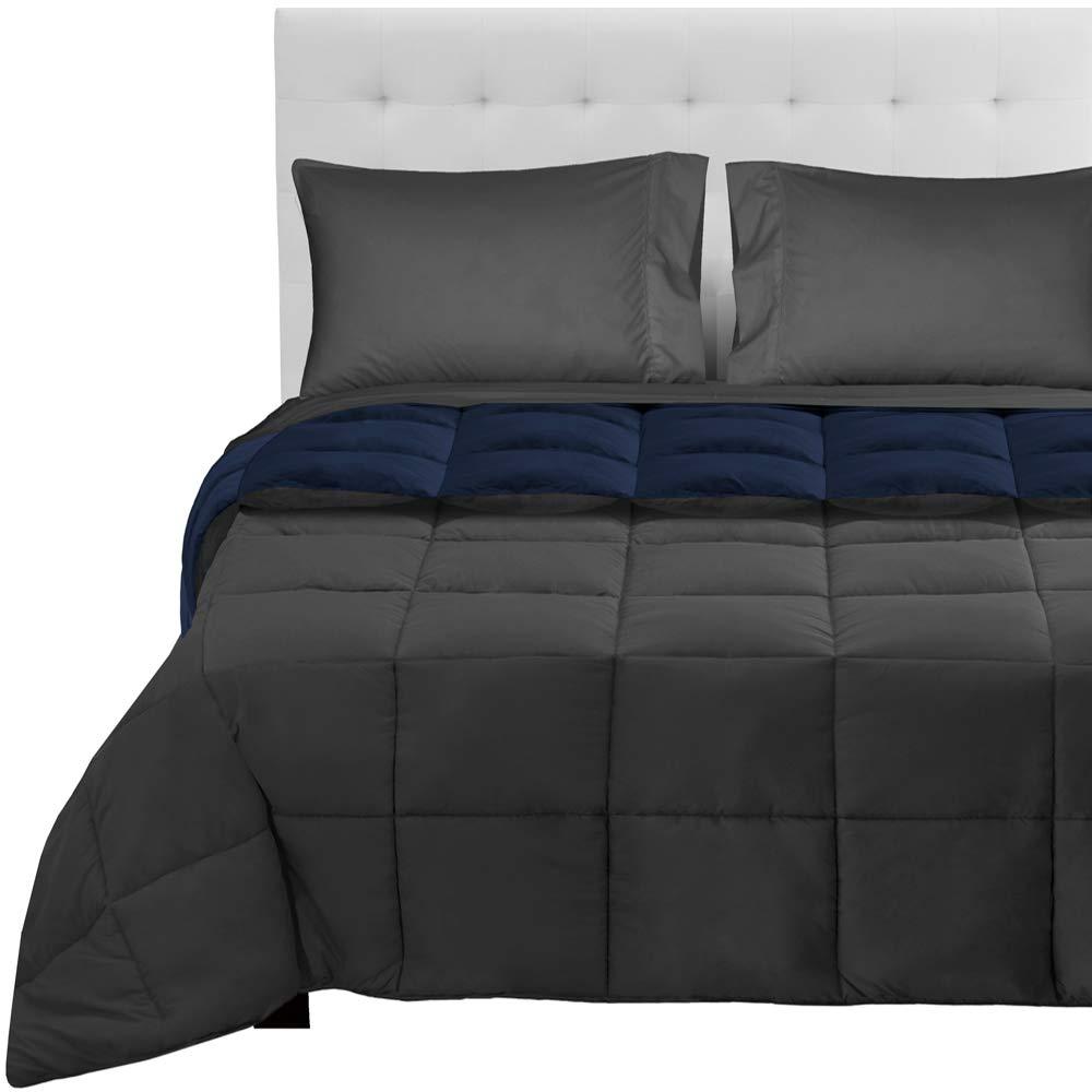 Dark bluee - Grey   Grey California King 5-Piece Reversible Bed-in-A-Bag - Queen (Comforter  Dark bluee Grey, Sheet Set  Grey)