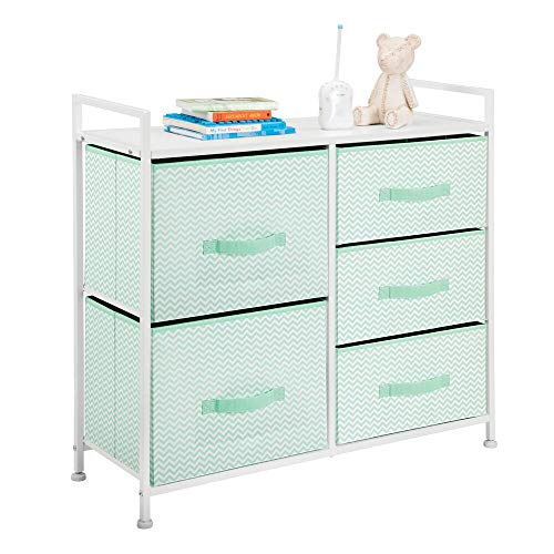 mDesign Wide Dresser Storage Tower Furniture - Metal Frame, Wood Top, Easy Pull Fabric Bins - Organizer for Kid's Bedroom, Hallway, Entryway, Closet, Dorm - Chevron Print, 5 Drawers - Mint Green/White ()