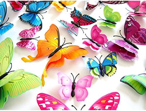 12pcs Wall Stickers Colorful 3D Butterfly Rainbow Decals for Kids Bedroom Living Room Decorations by Keepfit