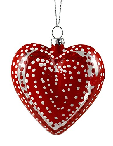 Caffco Valentine's Day Heart Hand Painted Glass Ornament