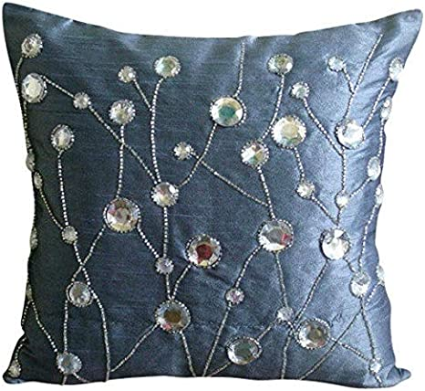 Textured Sofa Throw Nature Floral Modern Style Felt Sofa Cushion 3D 16x16 Decorative Blue Throw Pillow Cover Custom Bloomingdale