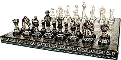 "Brass Chess Set For Adults Large Chess Sets and Board Chess Game Pieces Collectible Chess Board Hand Carved Game Boards 12""x12"""