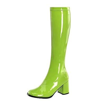 SALE%% GoGo Stretch High Heels Stiefel Lack Limette Gr n Pleaser Damenstiefel