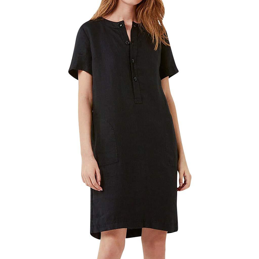 wodceeke Womens Casual Loose Linen Solid Short Sleeve A-line Sundress Button Dress(Black,L)