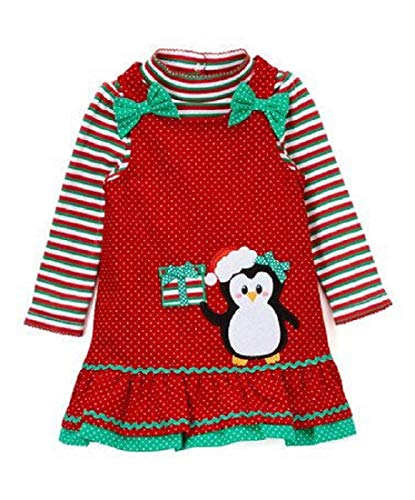 Red and Green Striped Bodysuit with Red Corduroy Jumper with Penguin Applique