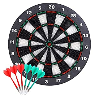 Theefun Dart Board, 16 Inch with 6 Rubber Safety Tip Darts Dartboard Game Set, Office Relaxing Sport & Family Leisure Time