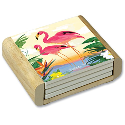 Flamingo Coasters - CounterArt Tropical Flamingo Garden Absorbent Coasters in Wooden Holder, Set of 4